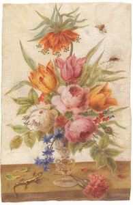 Bloemen in een à la façon Venise glas met keizerskroon in top en hagedis