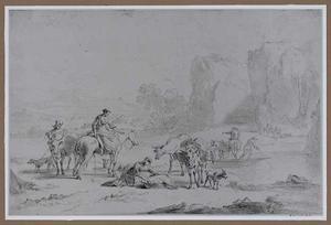 Italianiserend rivierlandschap met herders en veerpont