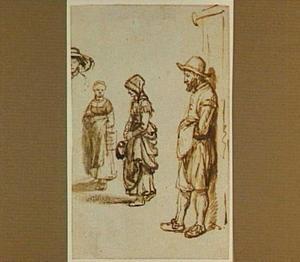 Drie staande figuren en een kop