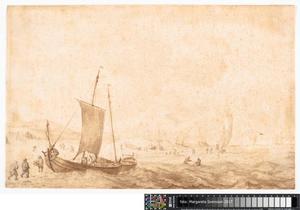 Strandgezicht met vissersboten