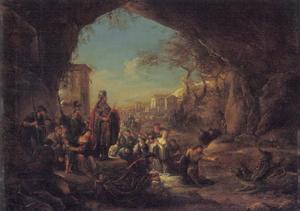 Daniël voert de draak, terwijl Cyrus toekijkt (Daniël 14: 23-41)