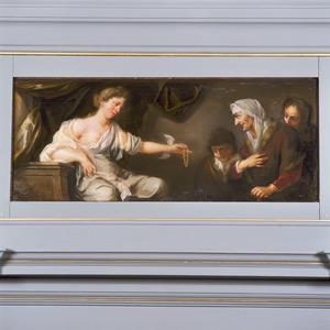 Caritas toont een gouden ketting, ten teken van de weldaad, aan drie oude vrouwen