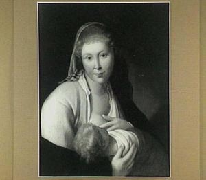 Jonge vrouw, die een kind de borst geeft