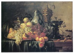 Vruchtenstilleven met een steengoed kruik, een pronkbeker en een roemer op een tafel
