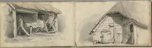 Studies van een schuur (folio 29 verso) en van een boerderij (folio 30 recto)
