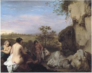 Arcadisch landschap met badende nimfen