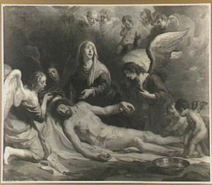 De bewening van Christus door Maria en engelen