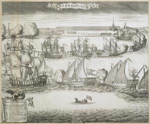 Feestelijke intocht van vier fregatschepen in Sint Petersburg op 8 september 1720 na de overwinning bij Grengam