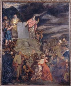 Mozes met de nieuwe Tafelen der Wet voor het volk (Exodus 34:31-33)