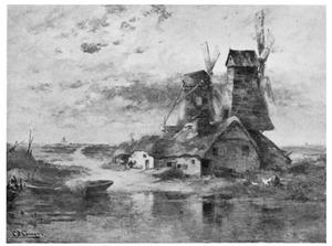 Landschap met Hollandse windmolen