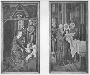 De geboorte (links), de presentatie in de tempel (rechts)