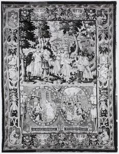De doop van Christus met de annunciatie en geboorte van Christus in cartouches