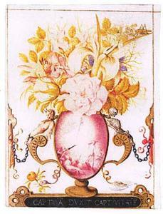De verrijzenis van Christus (Mattheus 28) (geschilderd op ovale contour van vaas)