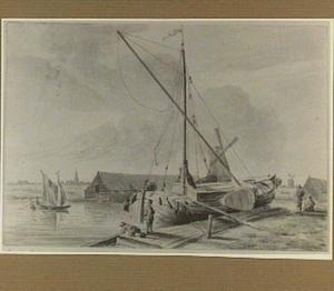 Landschap met aangemeerde boot en molen