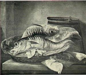 Stilleven met vissen in mand en schollen op tafel, een houten emmer daarbij