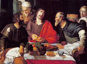 Christus zegent het brood tijdens de maaltijd te Emmaüs