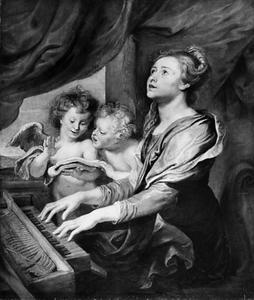 De Heilige Cecilia bespeelt het Virginaal