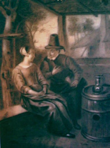 Man en vrouw in een tuinhuisje