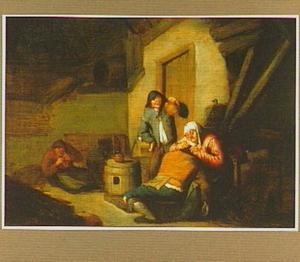 Oude vrouw vlooit een man; allegorie op het Gezicht