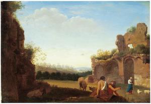 Zuidelijk landschap met herders en vee bij ruïnes