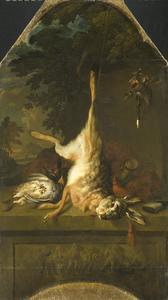 Jachtstilleven met dode haas en patrijzen boven een reliëf met putti