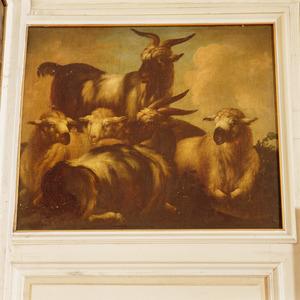 Twee bokken en drie schapen