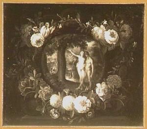 De zondeval van Adam en Eva in het paradijs omringd door een krans van bloemen