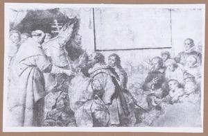 De teruggave van de kerkschatten aan de H. Norbertus na de overwinning op de ketterij van Tanchelmus, met portret van de familie Snoeck