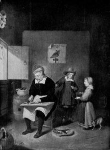 Interieur met man die vis schoonmaakt en twee kinderen