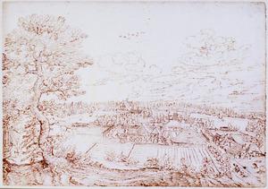 Panoramalandschap met landhuis en boerderijen