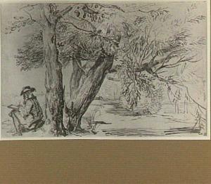 Boslandschap met een tekenaar