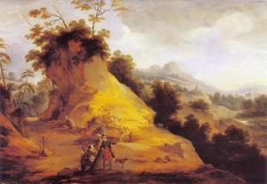Landschap met vier jagers in een holle weg