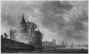 Rivierlandschap met aanlegplaats bij een fortificatie