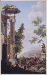 Zuidelijk berglandschap met figuren bij een tempelruïne