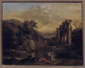 Zuidelijk landschap met Venus treurend om de dode Adonis