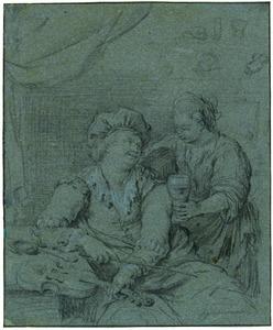 Vioolspeler en vrouw met roemer in een interieur