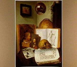 Vanitasstilleven met boeken, Rembrandt en Lievens prenten en schilderijen, met een zelfportret in een bol