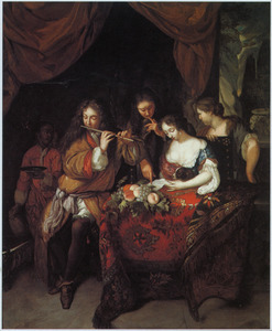 Elegant gezelschap in een interieur voorstellende een allegorie van de vijf zintuigen