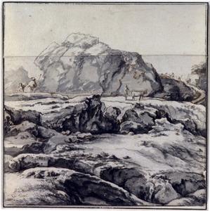Rotslandschap met herders en hun vee