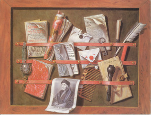 Trompe-l'oeil van een ingelijst brievenbord met een portret van Erasmus, een horloge en schrijfgerei