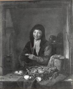 Vrouw die oesters en mosselen verkoopt