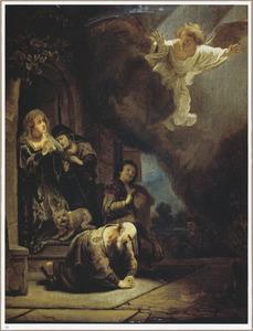 De engel Raphaël vetrekt van Tobias en zijn familie (Tobias 12:21-22)