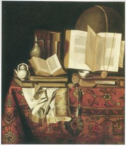 Stilleven met boeken en documenten