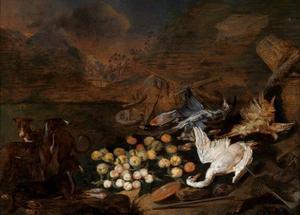 Jacht- en vruchtenstilleven met gevogelte en jachthonden