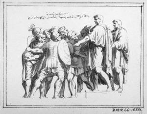 Groep Romeinse soldaten en mannen in toga