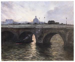 De Pont Royal in Parijs bij ondergaande zon