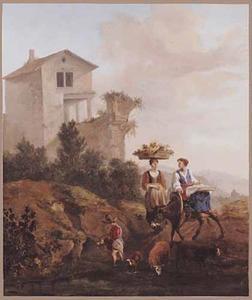 Zuidelijk landschap met vrouwen op weg naar de markt
