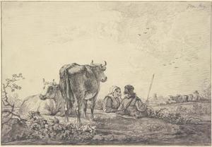 Landschap met herderspaar en twee koeien