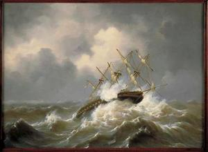 "De ""Rotterdam"" bij storm"