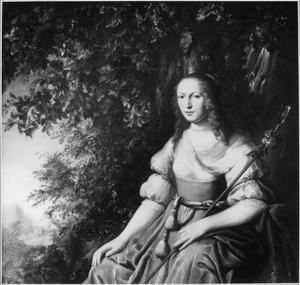 Portret van een vrouw als herderin in een landschap